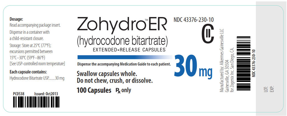 NDC 43376-230-10 CII Zohydro ER (hydrocodone bitartrate) Extended-Release Capsules 30 mg 100 Capsules Rx Only