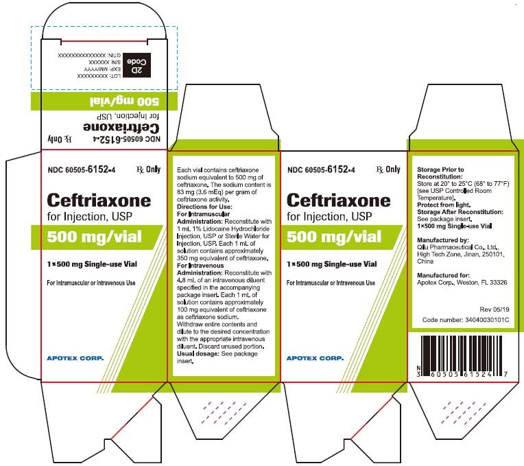 Ceftriaxone for Injection 500 mg Carton Label (Single Pack)