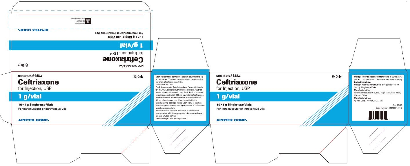 Ceftriaxone for Injection 1 g Carton Label (10 Pack)