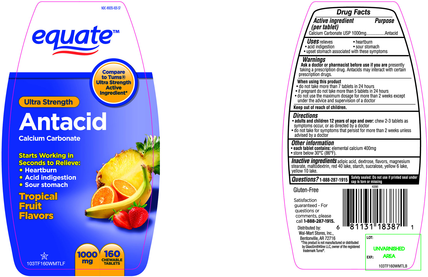 Equate Ultra Strength Antacid Calcium Carbonate Chewable Tablets