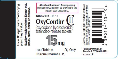 Oxycontin 15 mg label