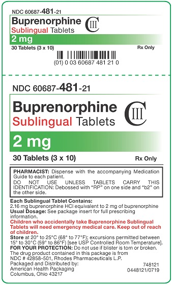 2 mg Buprenorphine Sublingual Tablets Carton