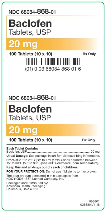 20 mg Baclofen Tablets Carton
