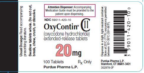 Oxycontin 20 mg label