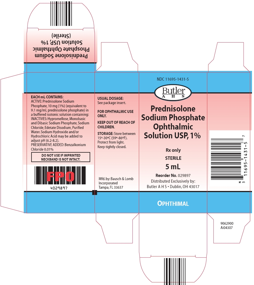 Prednisolone Sodium Phosphate Ophthalmic Solution USP, 1% (Carton, 5 mL - Butler)