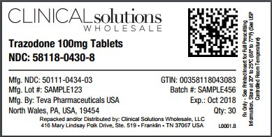 Trazodone 100mg tablet 30 count blister card