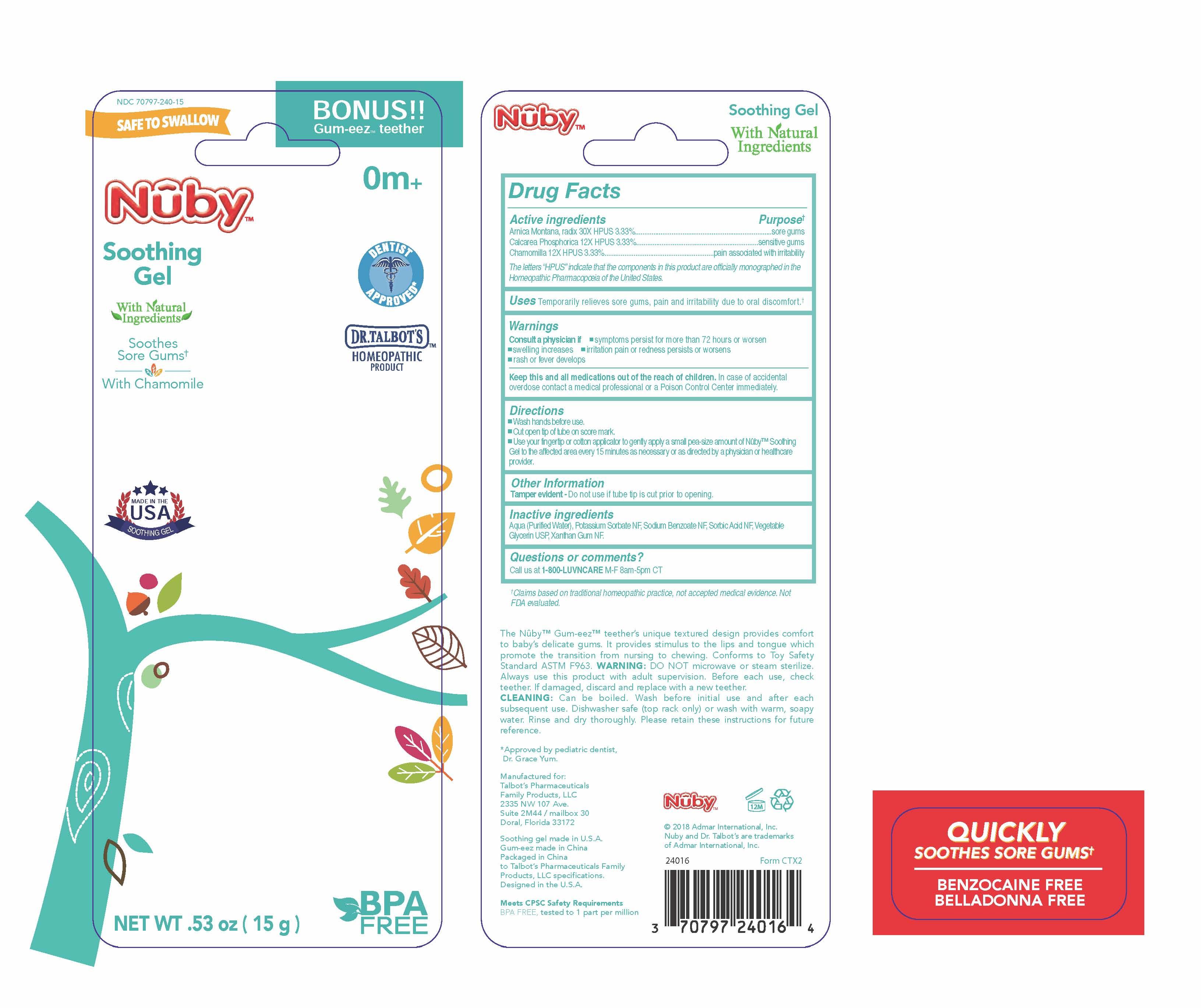 Nuby Soothing Gel   Matricaria Recutita 12 [hp_x], Arnica Montana Root 30 [hp_x], Calcium Cation 12 [hp_x] and breastfeeding