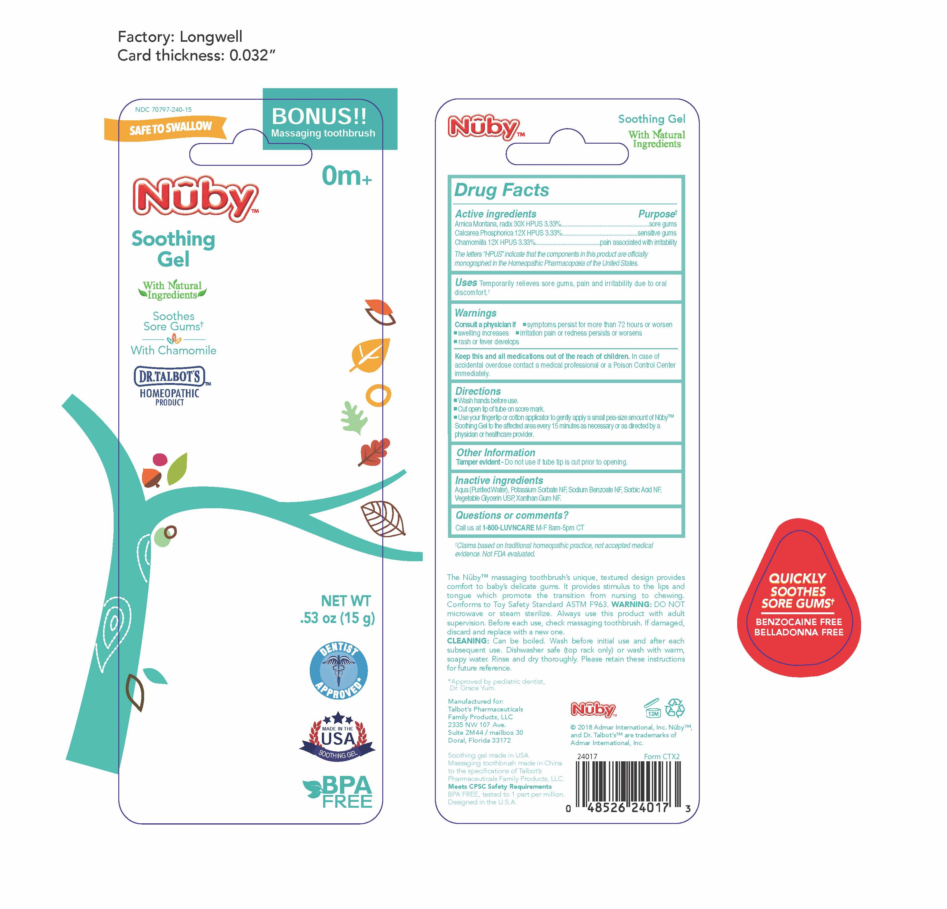 Nuby Soothing Gel   Matricaria Recutita 12 [hp_x], Arnica Montana Root 30 [hp_x], Calcium Cation 12 [hp_x] safe for breastfeeding
