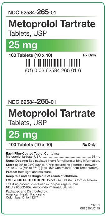 25 mg Metoprolol Tartrate Tablets Carton