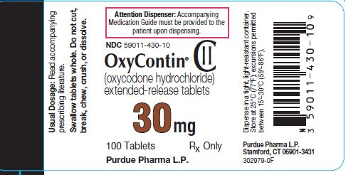 Oxycontin 30 mg label