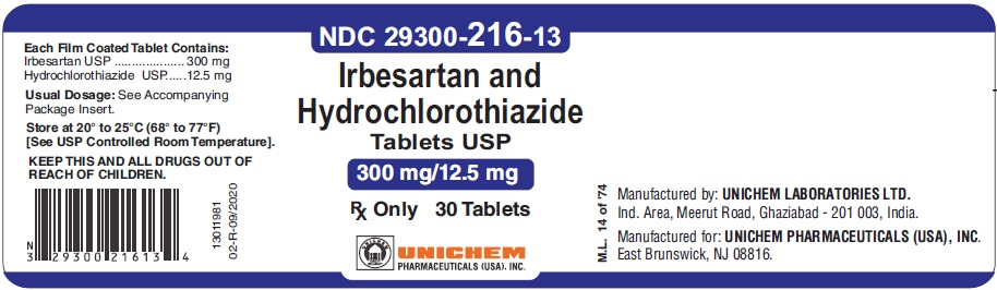 Container Label - Irbesartan and Hydrochlorothiazide Tablets 300 mg/12.5 mg-30 Tabs
