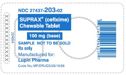 SUPRAX CEFIXIME CHEWABLE TABLETS 100 mg Rx only 							NDC 27437-203-02: Unit Dose Package of 1 (1 Blister of 1 Tablet)