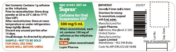 SUPRAX CEFIXIME FOR ORAL SUSPENSION USP 500 mg/5 mL Rx only 							NDC 27437-207-04: Bottle of 10 mL [Physician Sample Pack]