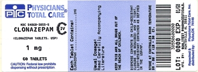 This is an image of the label for 1 mg Clonazepam Tablets, USP CIV.