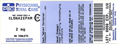 This is an image of the label for 2 mg Clonazepam Tablets, USP CIV.