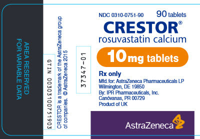 Crestor 10 mg tablet 90 count bottle label