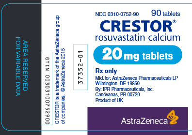 Crestor 20 mg tablet 90 count bottle label