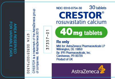 Crestor 40 mg tablet 30 count bottle label