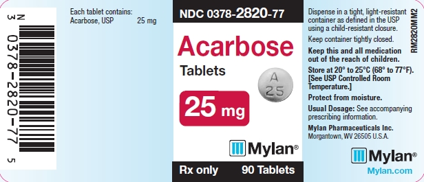 Acarbose Tablets 25 mg Bottle Labels