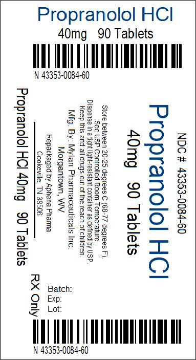 Propranolol Hydrochloride Tablets, USP 40 mg Bottle Label