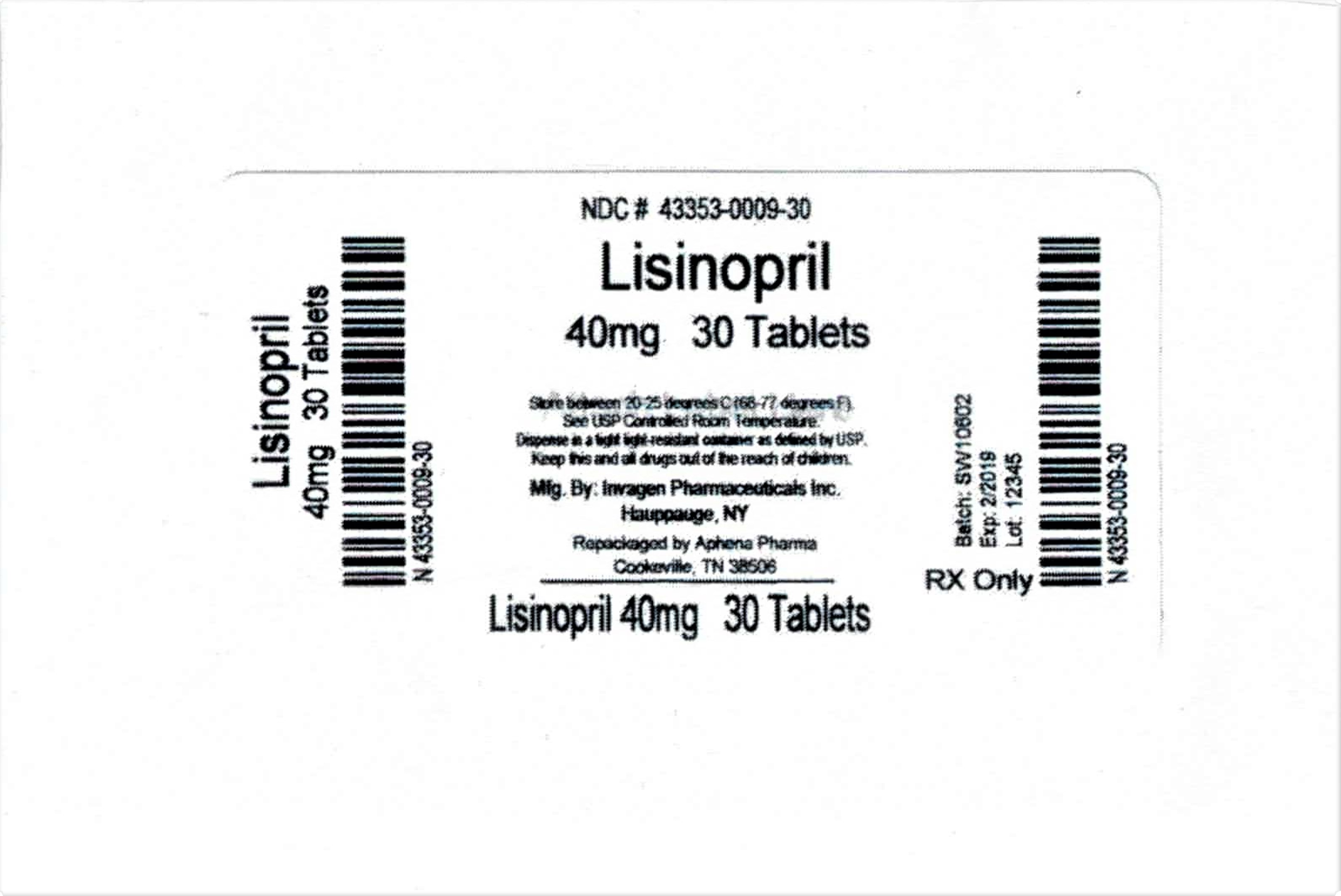 Lisinopril Tablets 40mg 30 Tablets