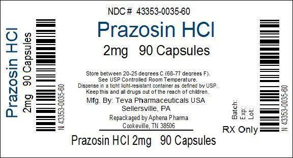Prazosin Hydrochloride   Aphena Pharma Solutions - Tennessee, Inc. Breastfeeding