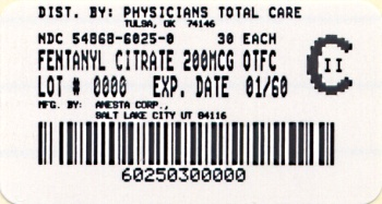 image of 200 mcg package label