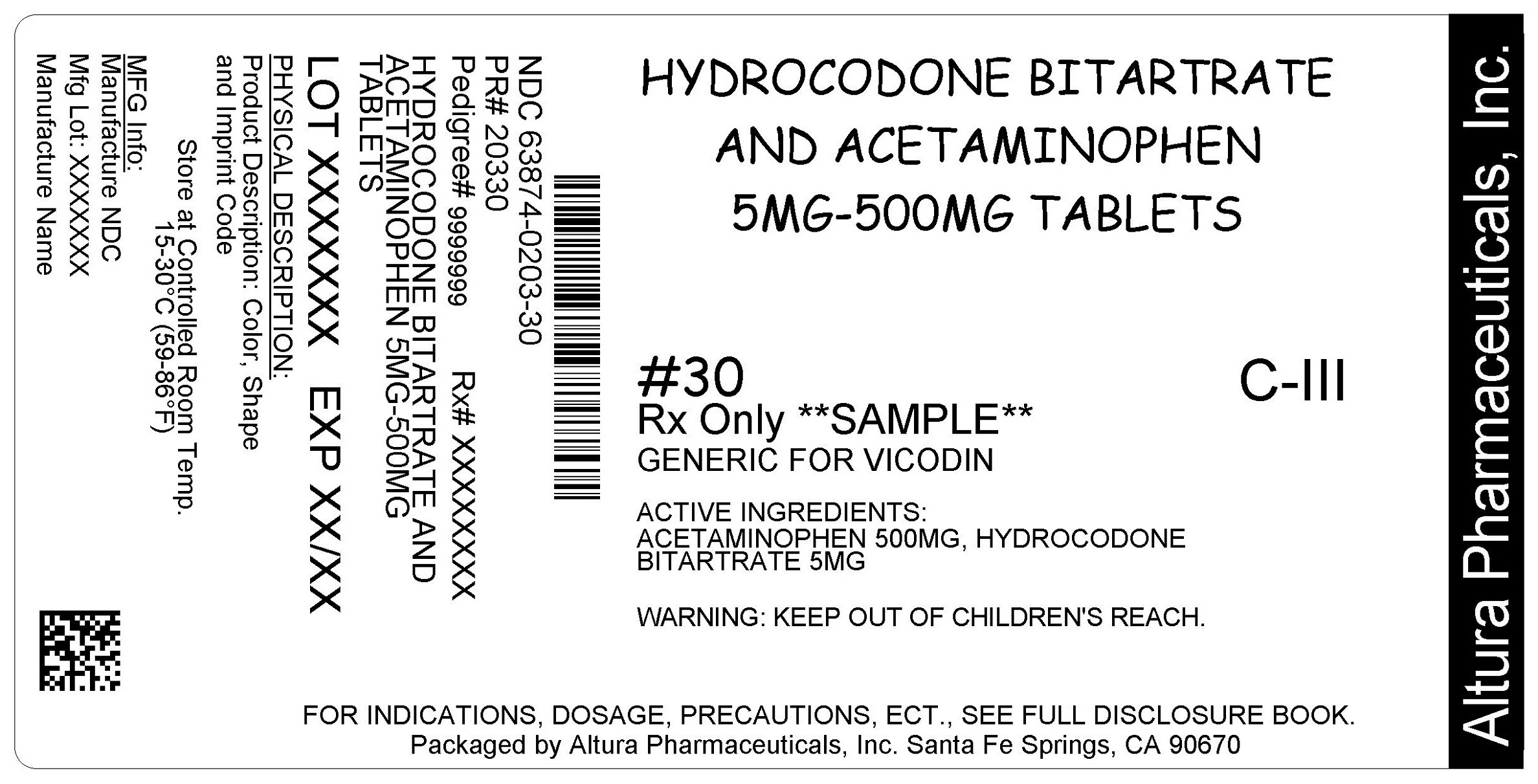 This is an image of the label for 5 mg/500 mg Hydrocodone Bitartrate and Acetaminophen Tablets.