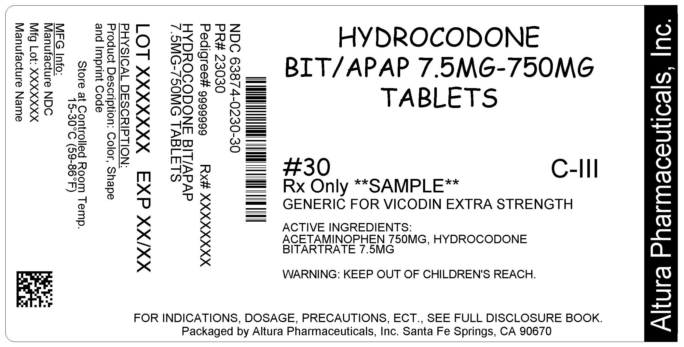 This is an image of the label for 7.5 mg/750 mg Hydrocodone Bitartrate and Acetaminophen Tablets.