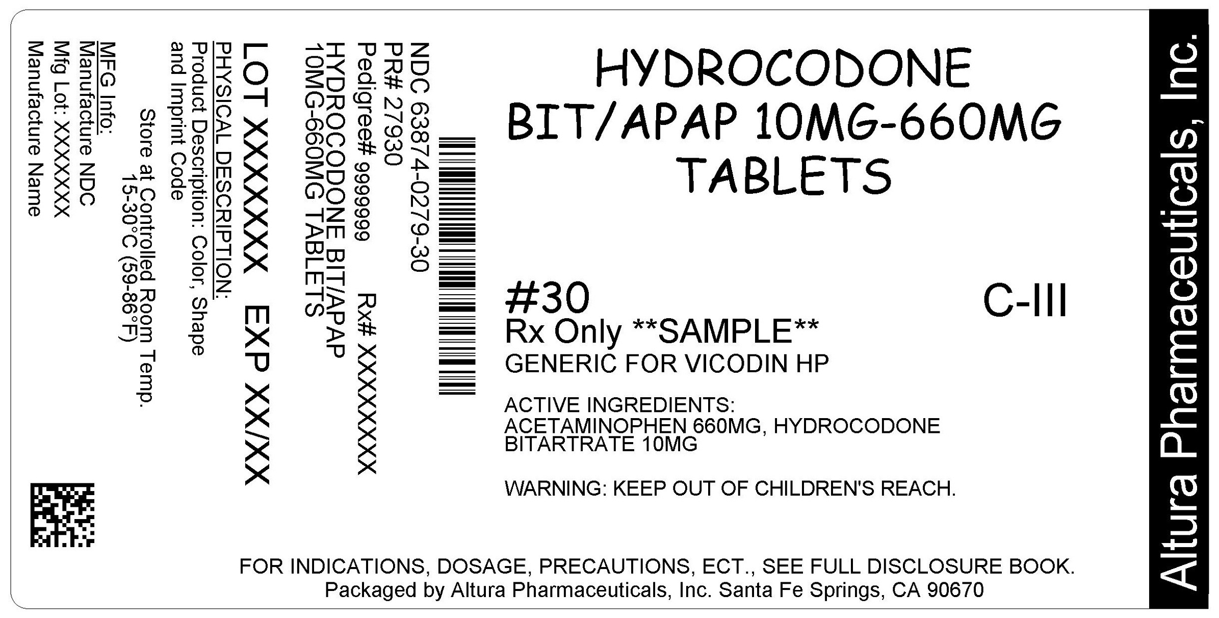 This is an image of the label for 10 mg/660 mg Hydrocodone Bitartrate and Acetaminophen Tablets.