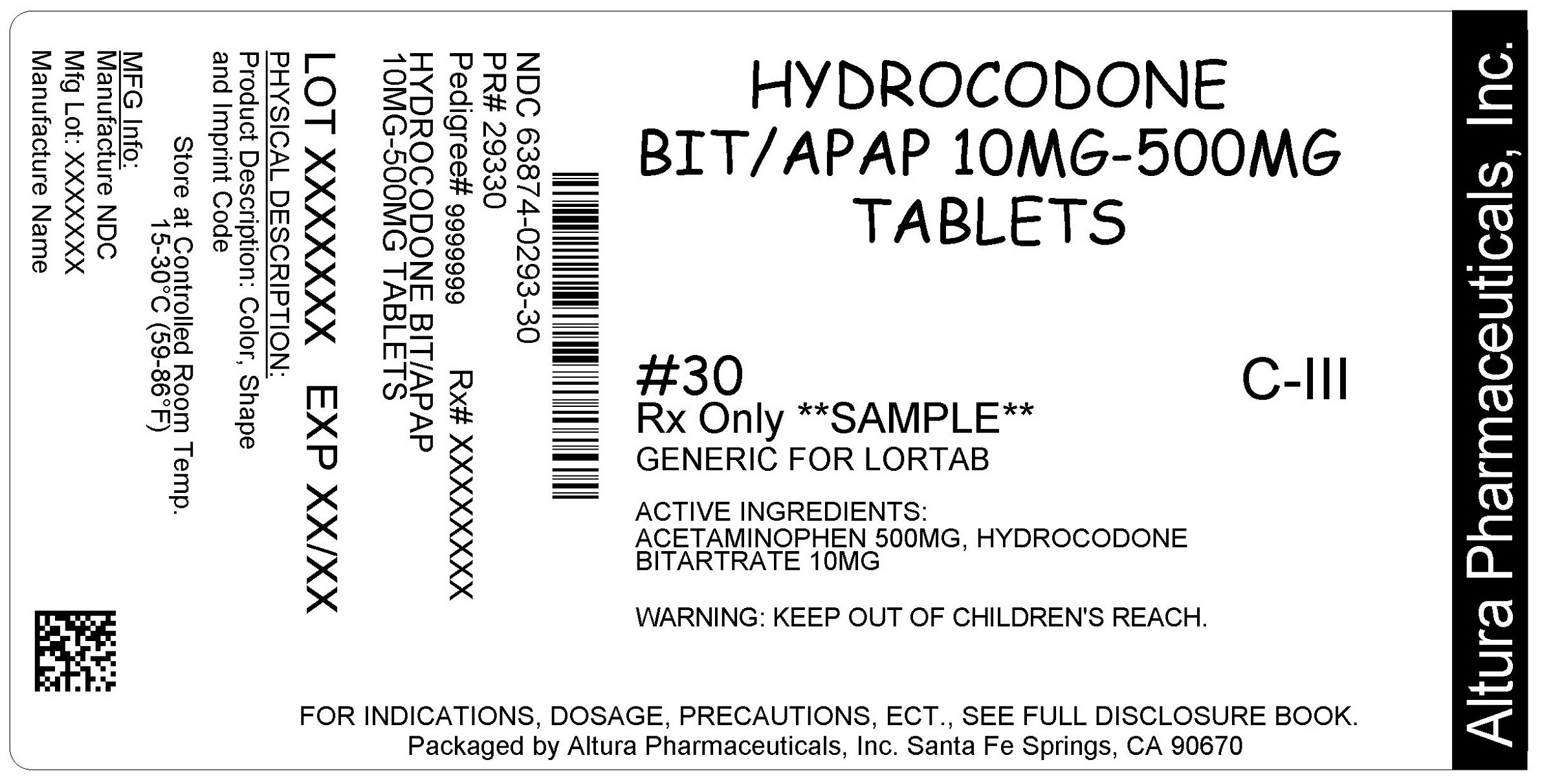 This is an image of the label for 10 mg/500 mg Hydrocodone Bitartrate and Acetaminophen Tablets.