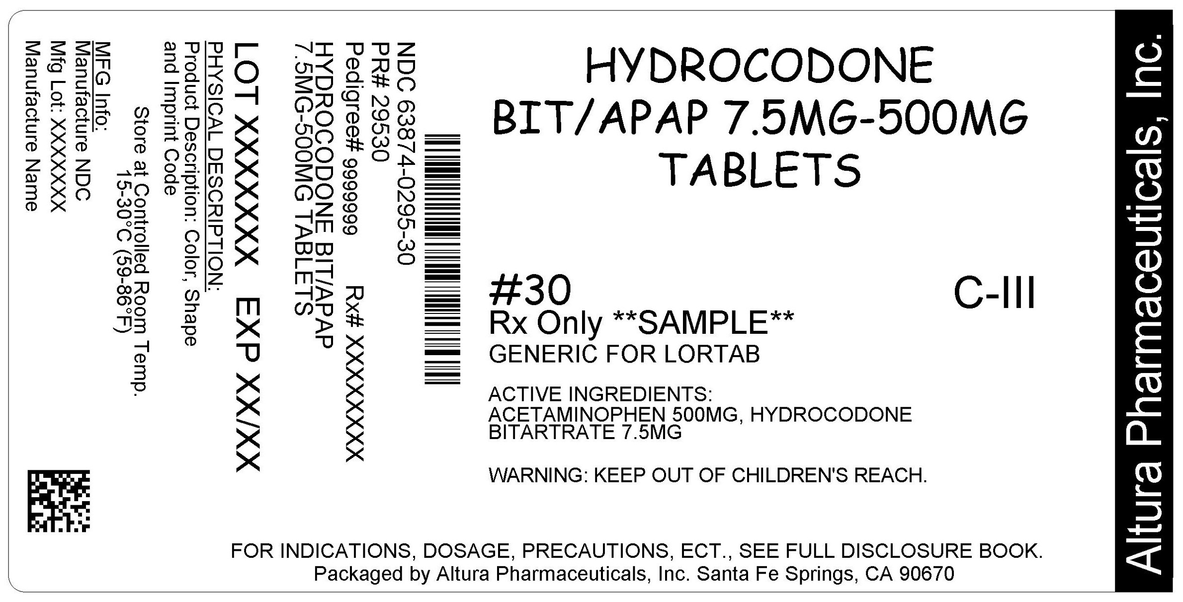 This is an image of the label for 7.5 mg/500 mg Hydrocodone Bitartrate and Acetaminophen Tablets.