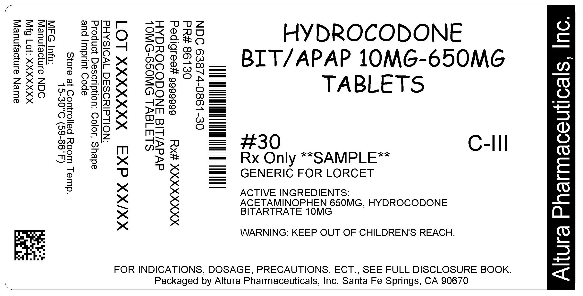 This is an image of the label for 10 mg/650 mg Hydrocodone Bitartrate and Acetaminophen Tablets.