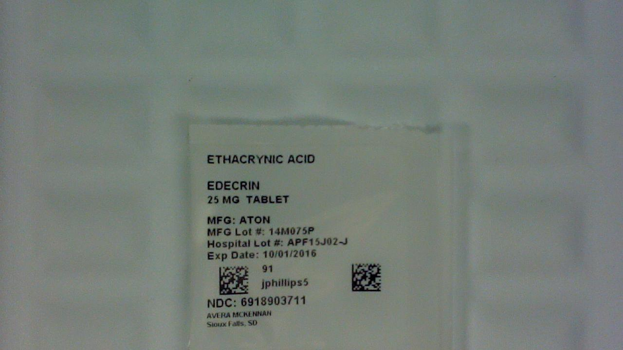 Ethacrynic Acid 25mg tablet label