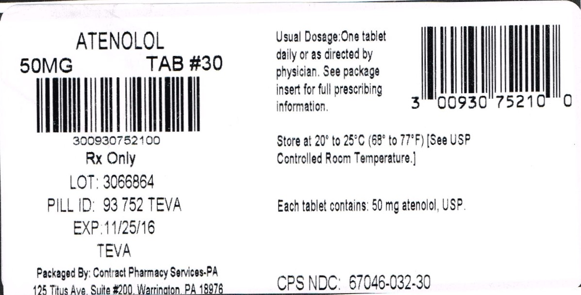 Atenolol Tablets USP 50 mg 100s Label