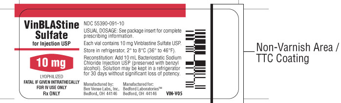 Vial label for Vinblastine Sulfate for Injection USP 10 mg