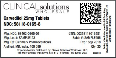 Carvedilol 25mg tablet 30 count blister card