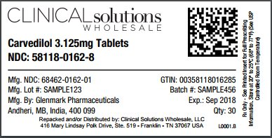 Carvedilol 3.125mg tablet 30 count blister card