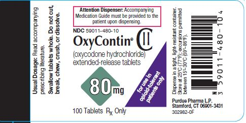 Oxycontin 80 mg label