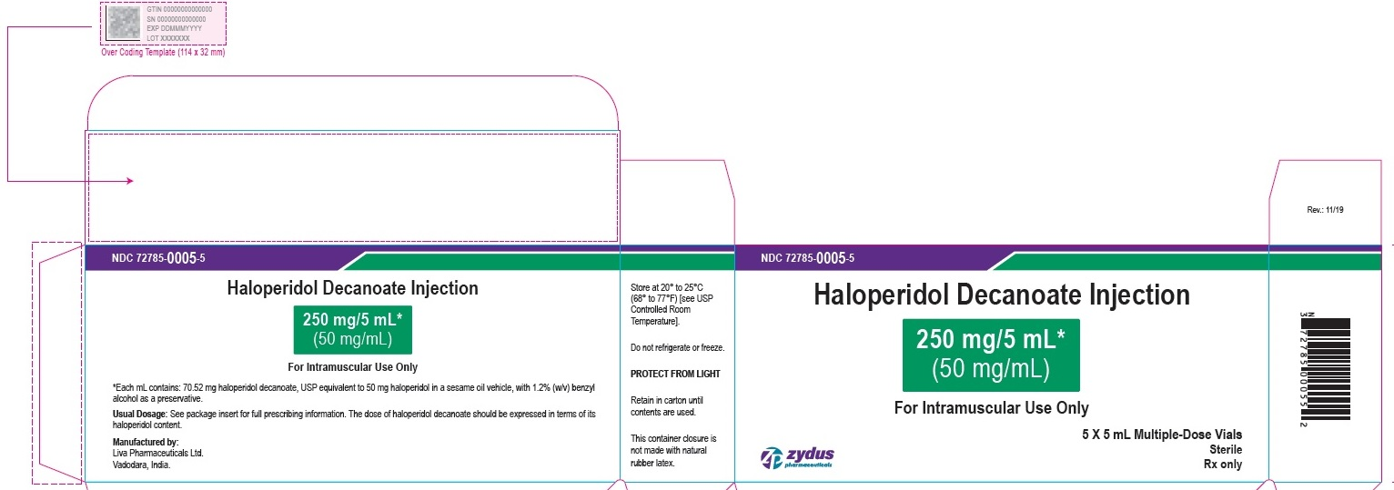 Haloperidol decanoate Injection, 250 mg per 5 mL Carton (5 Vials per carton)
