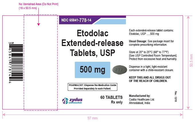 Etodolac Extended-release Tablets USP, 500 mg