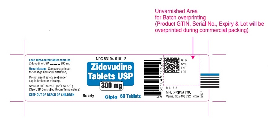 Zidovudine tablets 300 mg -60s count bottle label