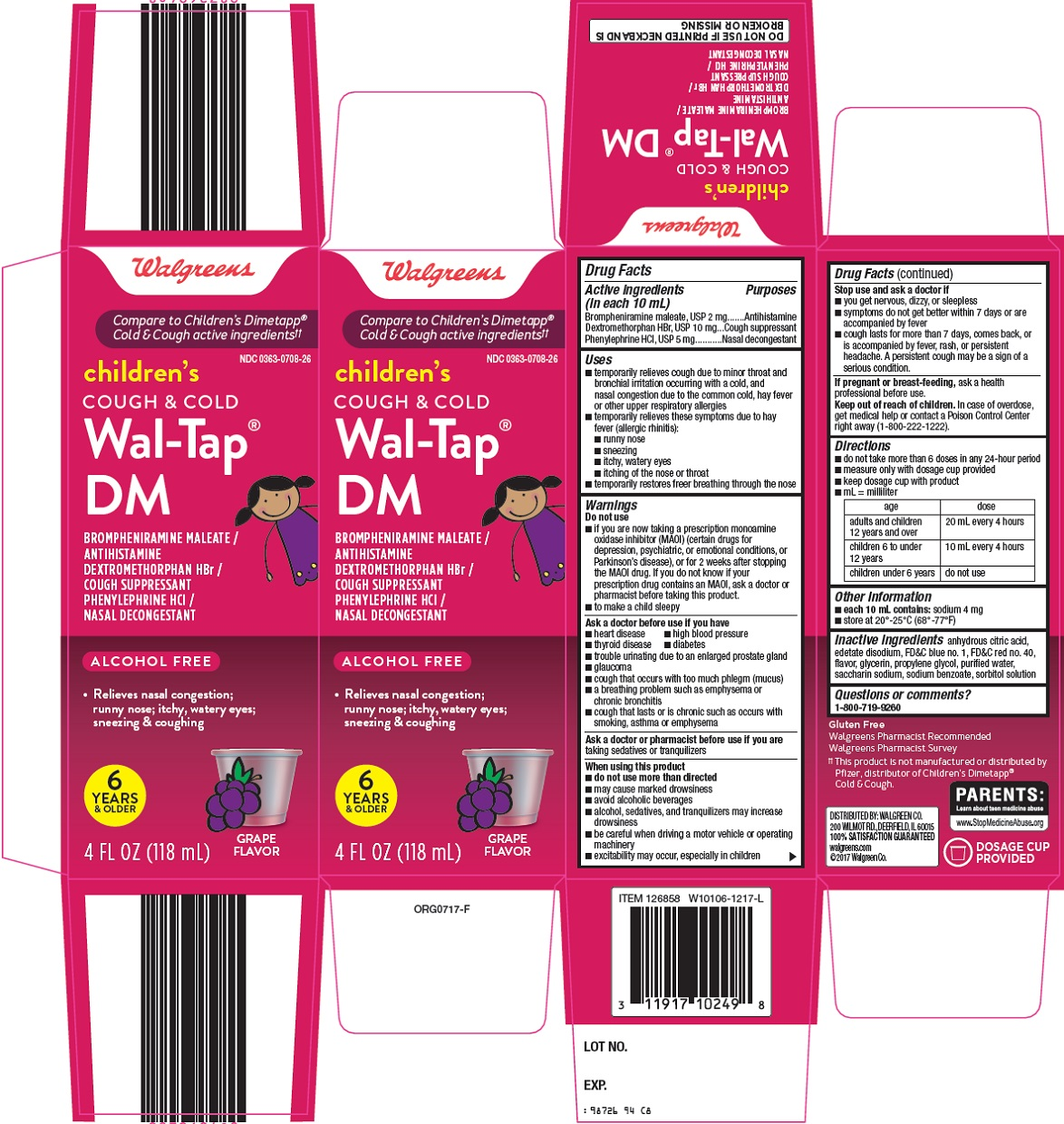 Walgreen Co Children S Wal Tap Dm Cough Cold Drug Facts