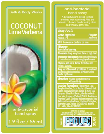 Anti-bacterial Hand Coconut Lime Verbena   Alcohol Spray while Breastfeeding