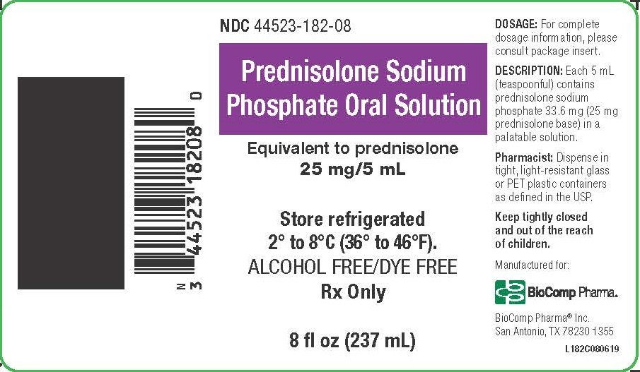 Prednisolone Sodium Phosphate Oral Solution 25 mg/5 mL Label  NDC: 44523-182-08