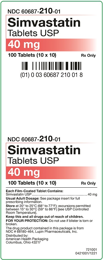 40 mg Simvastatin Tablets Carton