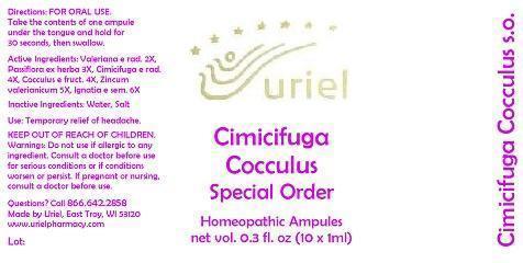 Cimicifuga Cocculus Special Order Liquid Breastfeeding