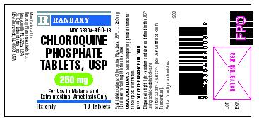 This is the 10 count bottle carton label for Chloroquine Phosphate tablets, USP 250 mg.