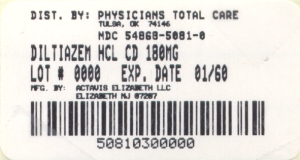 image of Diltiazem Hcl  CD 180 mg package label