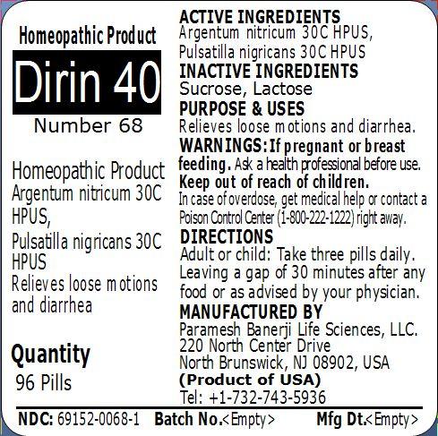 Dirin 40 (number 68)   Argentum Nitricum, Pulsatilla Nigricans Pellet Breastfeeding